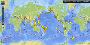 7 day earthquake map ending 03-31-13